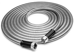 metal garden hose coiled