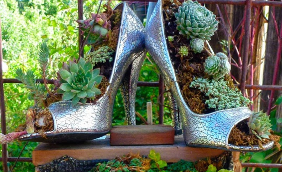 a pair of silver high heel shows created as elegant looking planters placed on a brown ledge