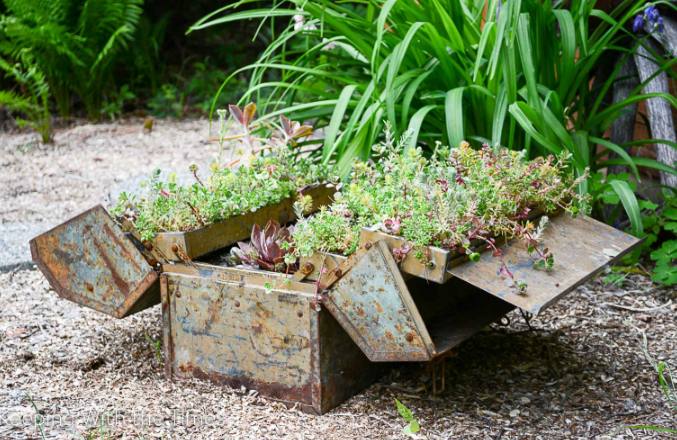 a tool box placed on mulch with flowers coming out of it