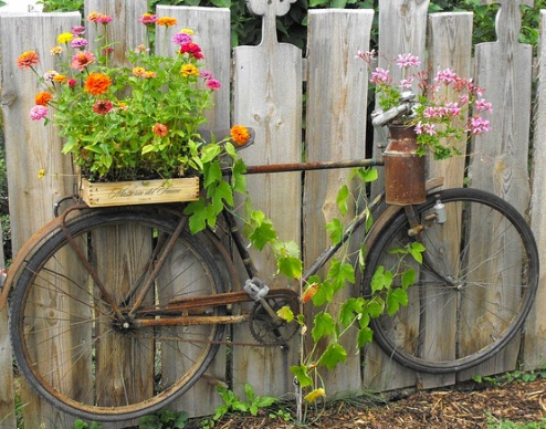 an old rustic brown bicycle with colorful flowers on it placed in front of a brown fence