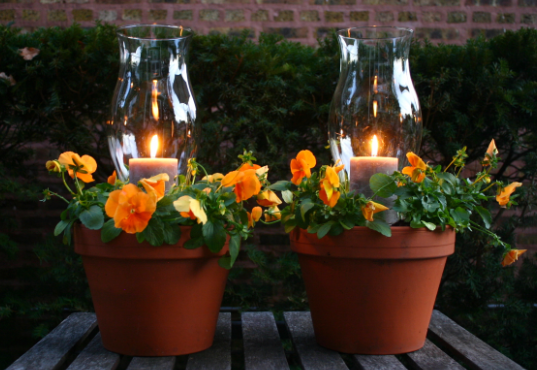 two flower pots placed on a brown picnic table with lit candles inside them