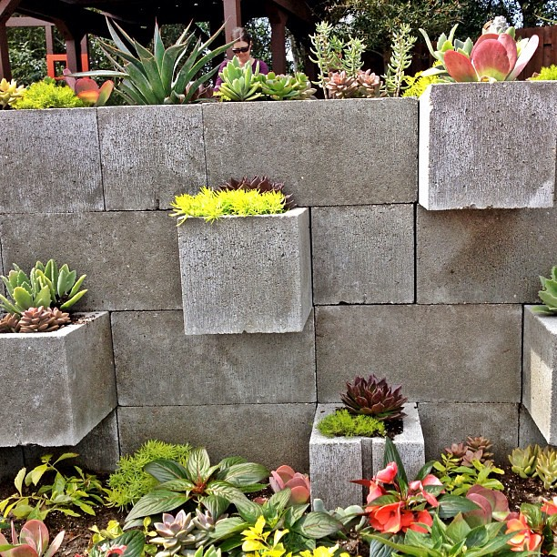 a cinder block fence with different color planters on it