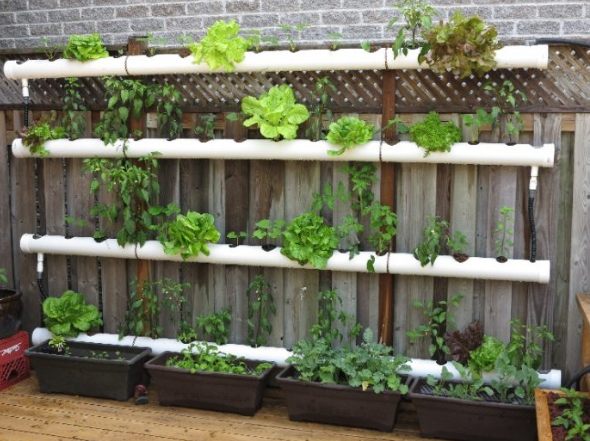 four white pipe planters hanging horizontally on a brown fence