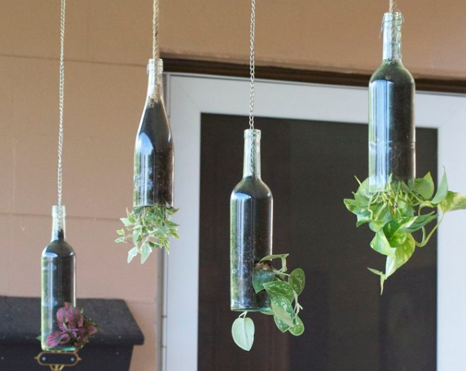 four wine bottles hanging from chains with green leaves and flowers hanging on each one