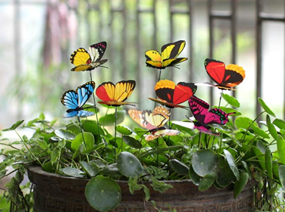 A bunch of colorful butterfly stakes pegged into a small green bush.