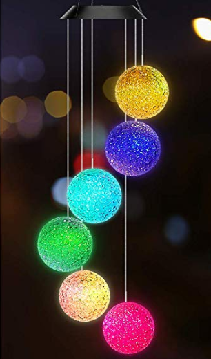 Colorful small hanging ball decorations.
