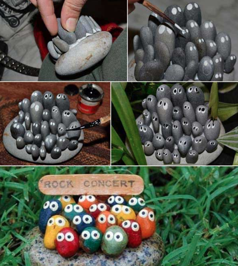 A DIY tutorial of painting colorful rocks and adding eyes to them.