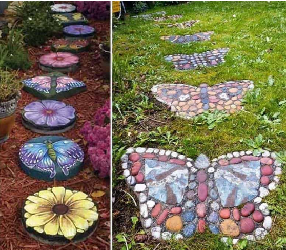 Very detailed stepping stone design with many colors