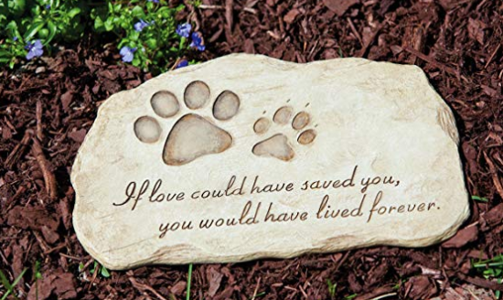 A white stepping stone with dog paws on it resting on mulch