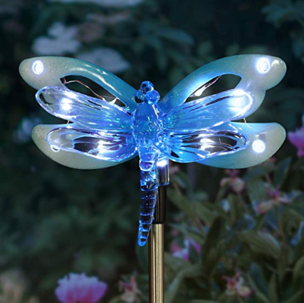 A blue dragonfly nightlight decoration for outdoors