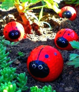 Four lady bug designed golf balls laying in a garden