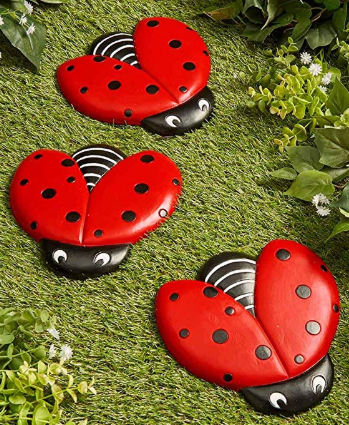 Three stepping stones decorated as lady bugs aligned behind each other
