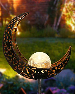 A moonlight garden decoration lit up pegged into the ground