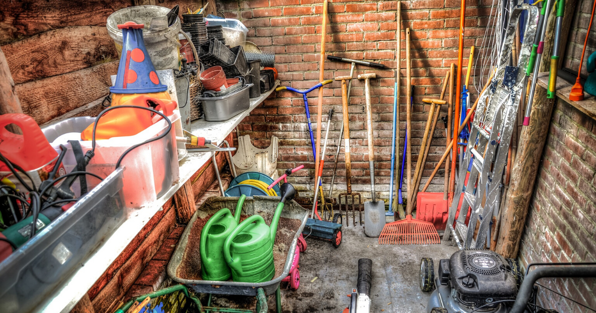 Garden tools ready for cleaning.