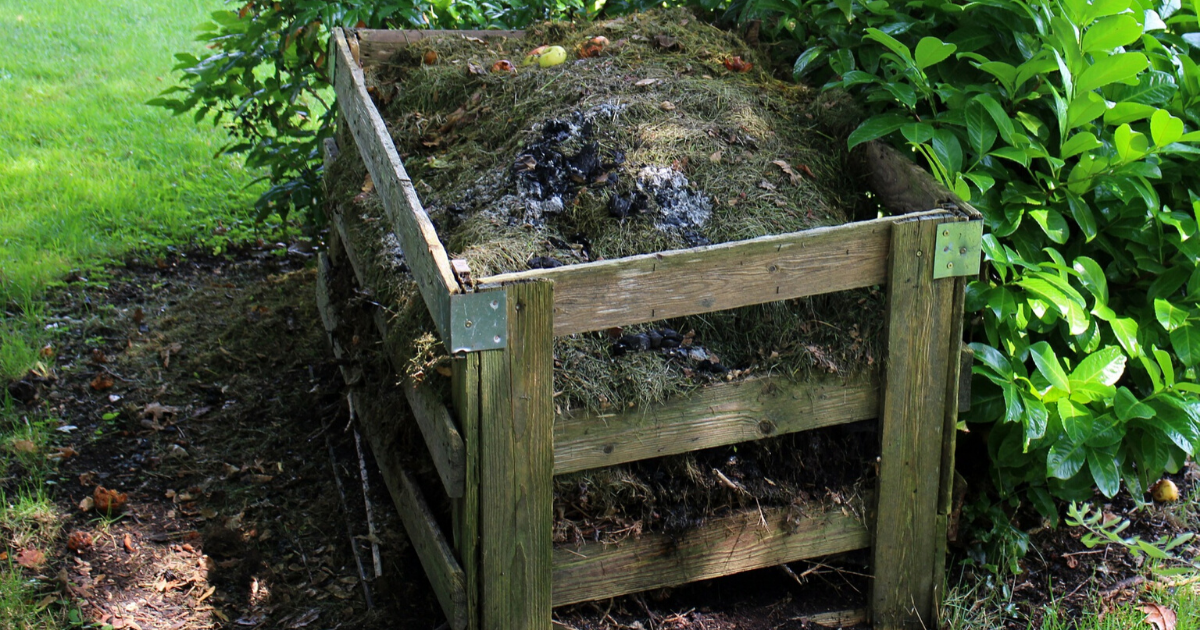 A small composting area for organic wastes.