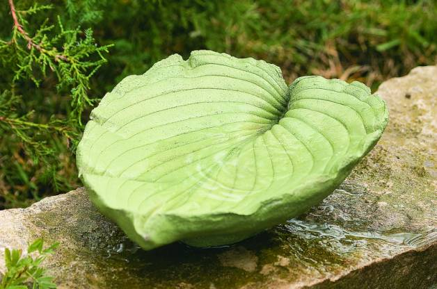 A big green leaf concrete birdbath.