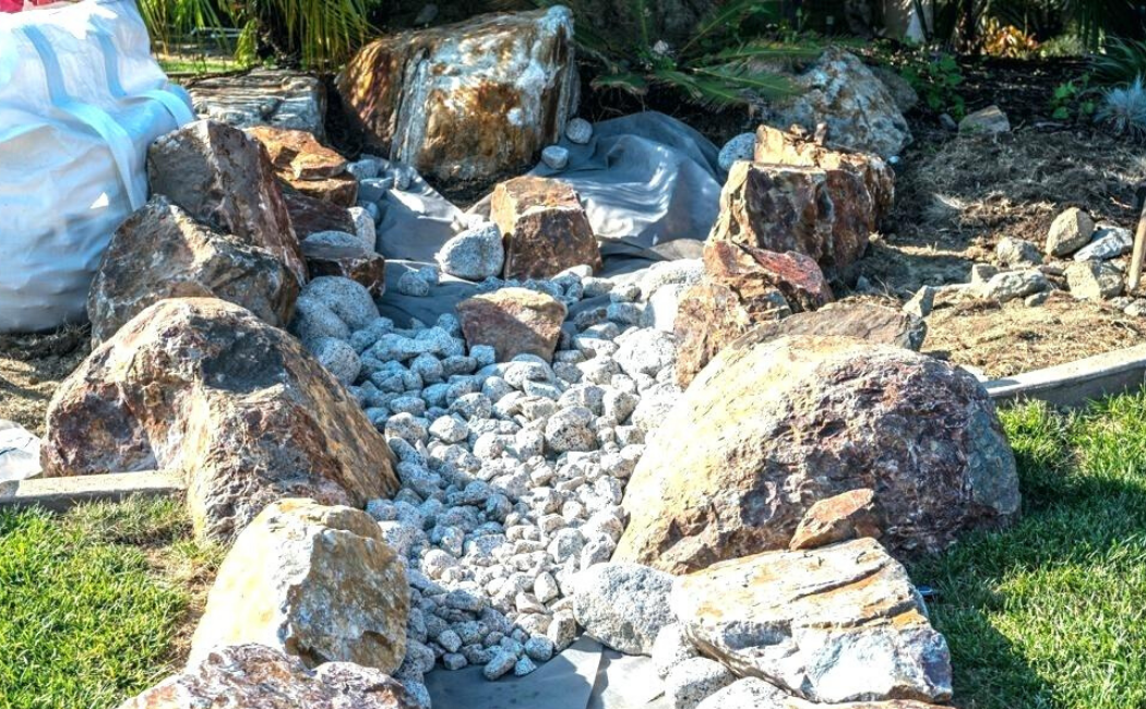 A dry creek bed created out of boulders.