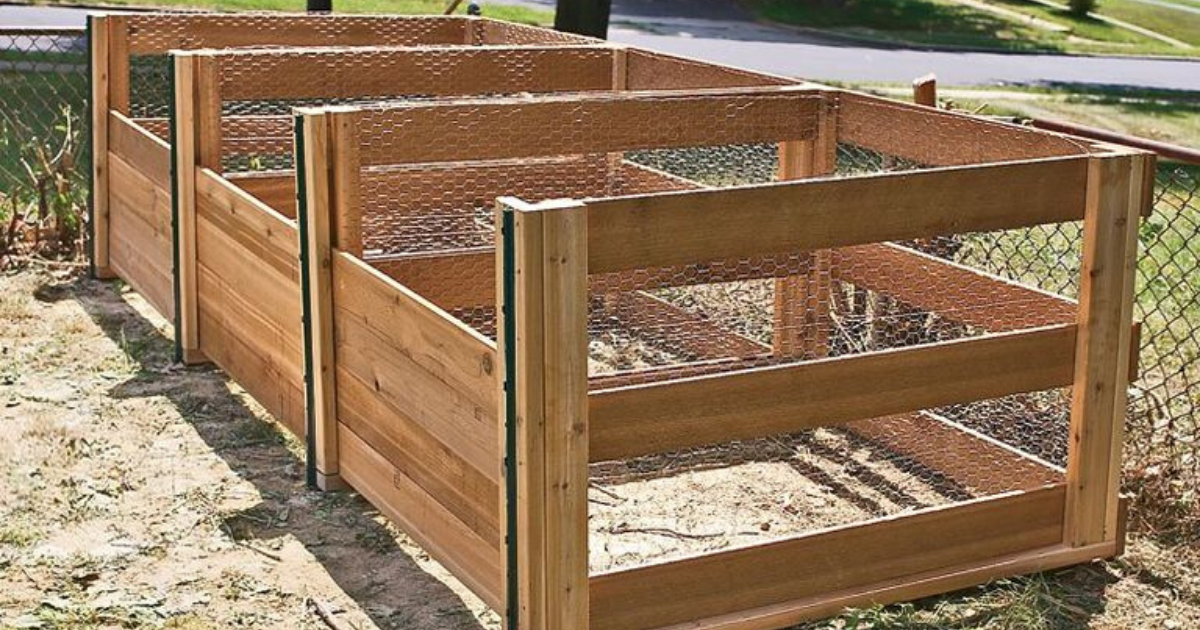 Newly constructed compost bin.