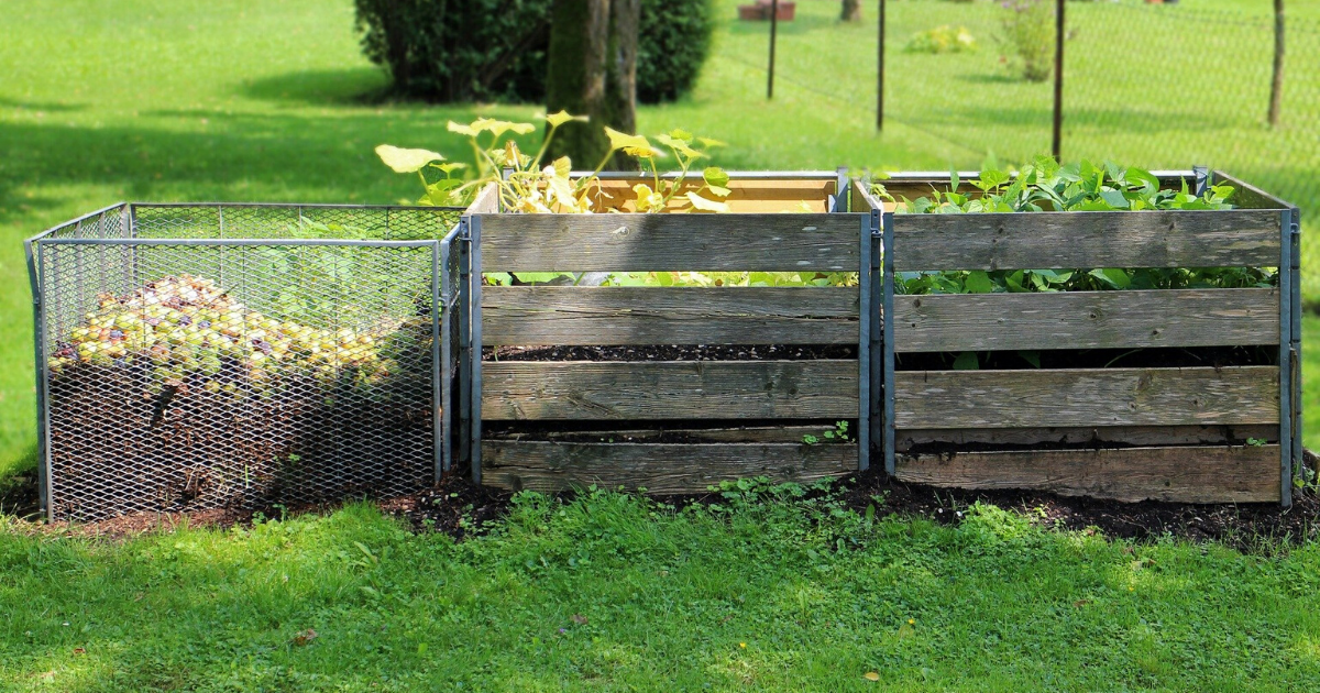 Three compost bins built with different materials.