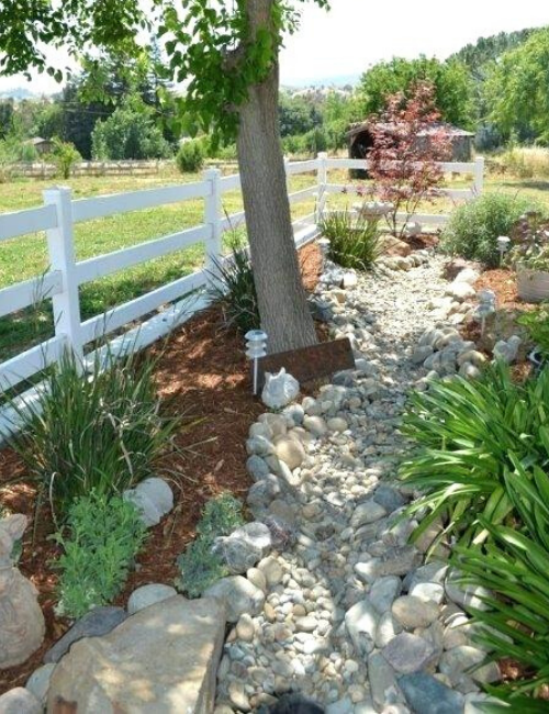 A dry creek bed built under a green maple tree.