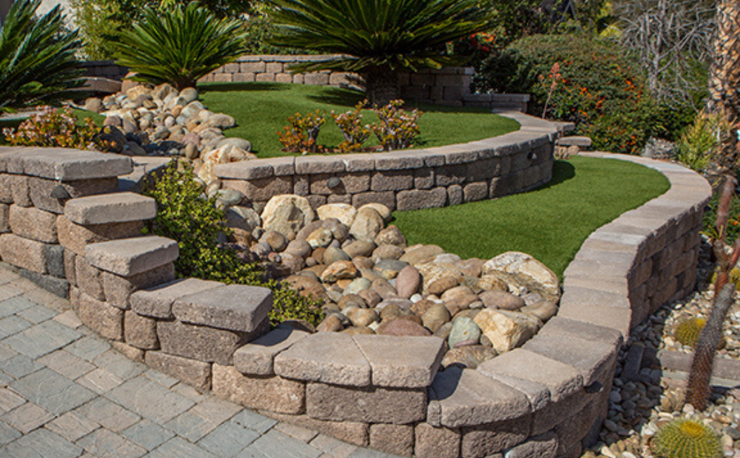 A dry creek bed in a two-tier garden.