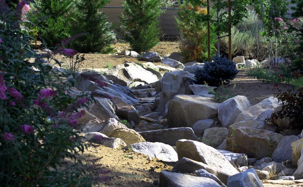 A backyard dry creek bed constructed using boulders.