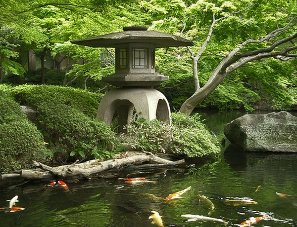 A stone lantern beside the pond.