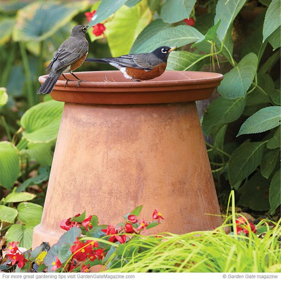 Upside terracotta birdbath with its natural colour.