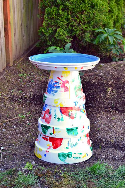 Upside terracotta with fingerprint birdbath.