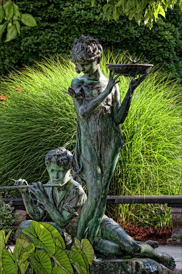 Classical statues of thefairies birdbath.