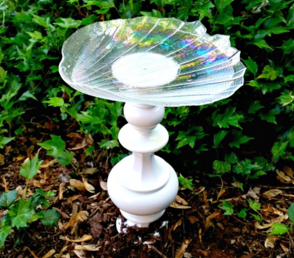 Seashell-inspired birdbath.