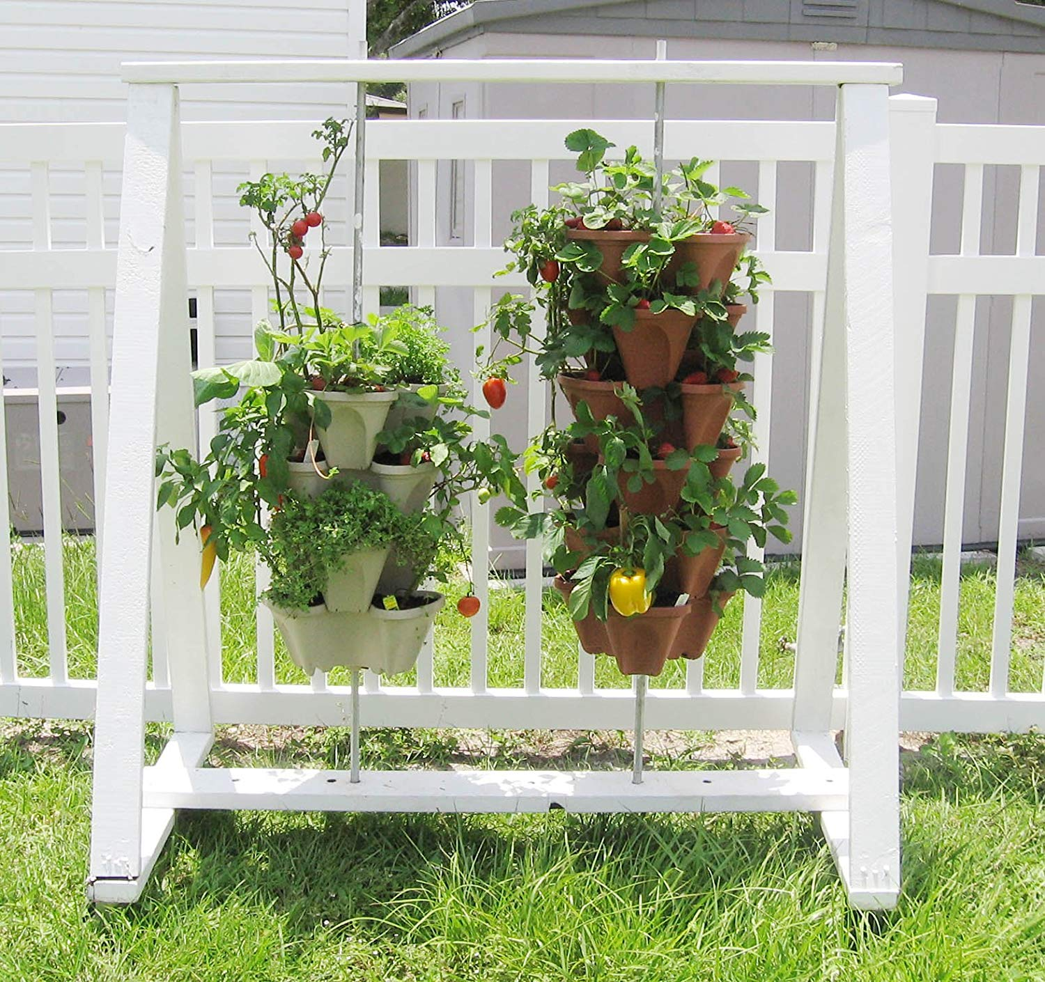 Hanging strawberry plants with white and brown PVC pipe planters.