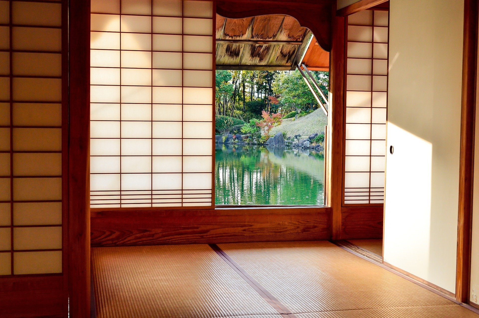 An open window of the tea house.