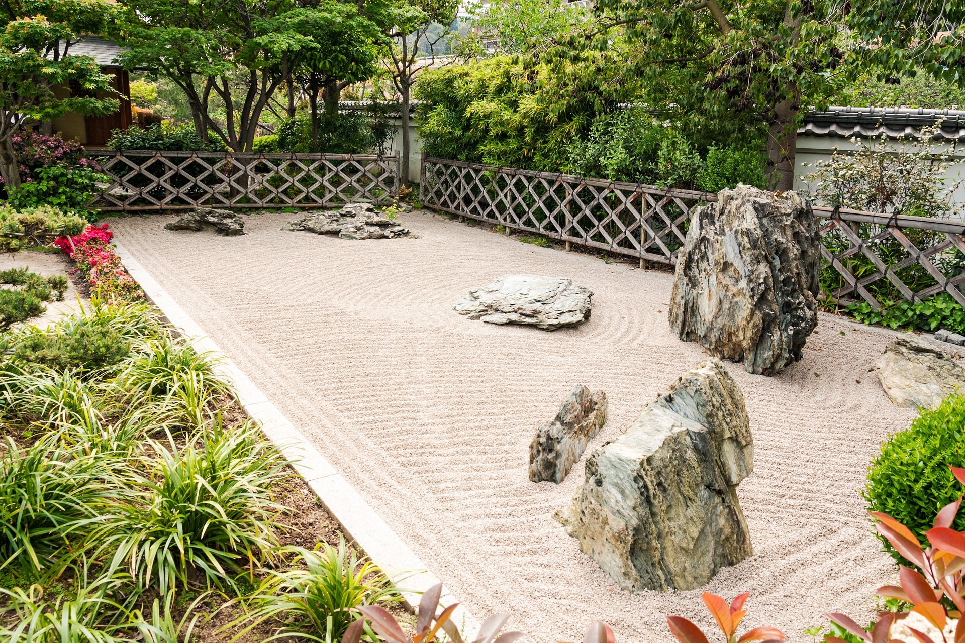 A landscape of zen garden in a backyard.