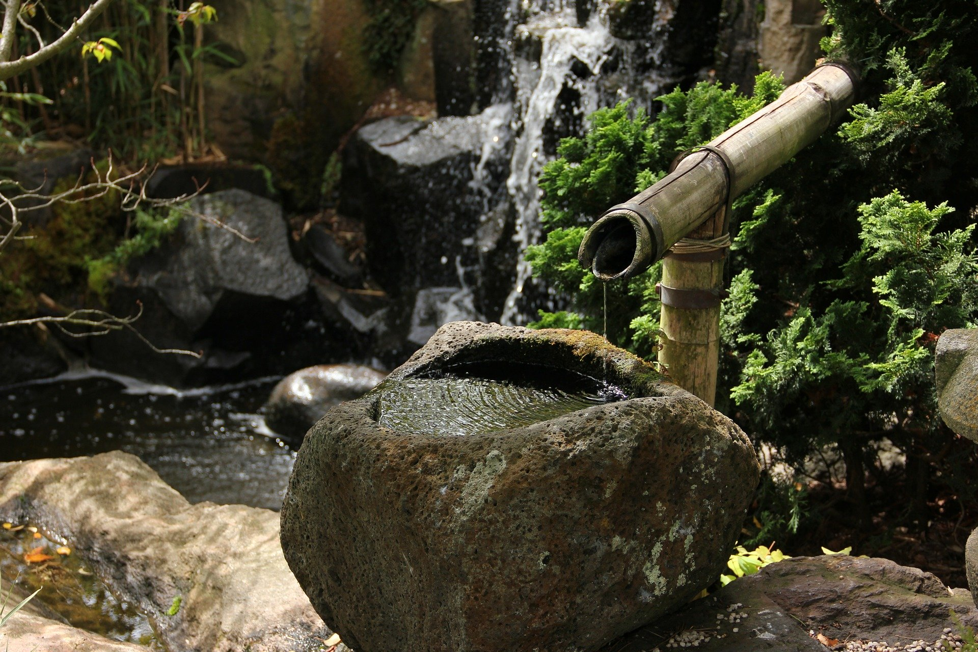 Traditional hand-washing basin made out of stone and a bamboo pipe.