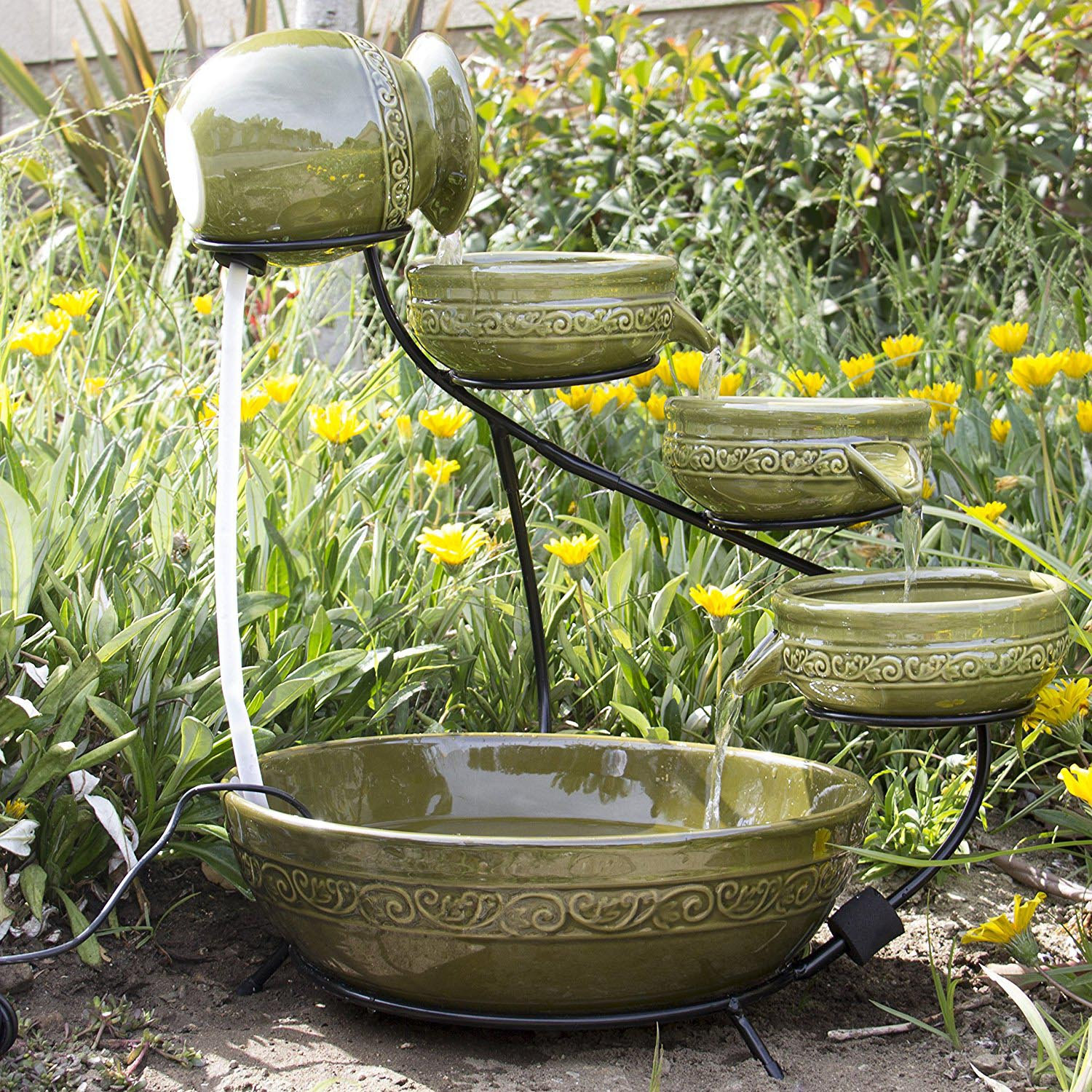Four-tier waterfall ceramic birdbath.