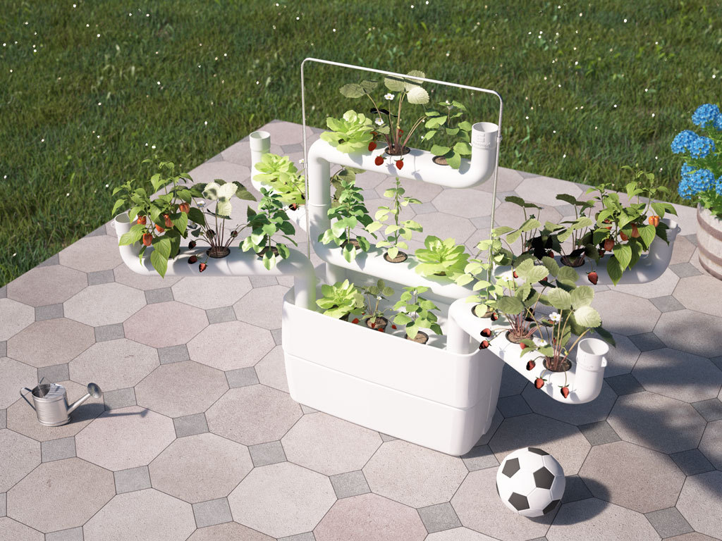 White spider type hydroponics system with strawberry plants.