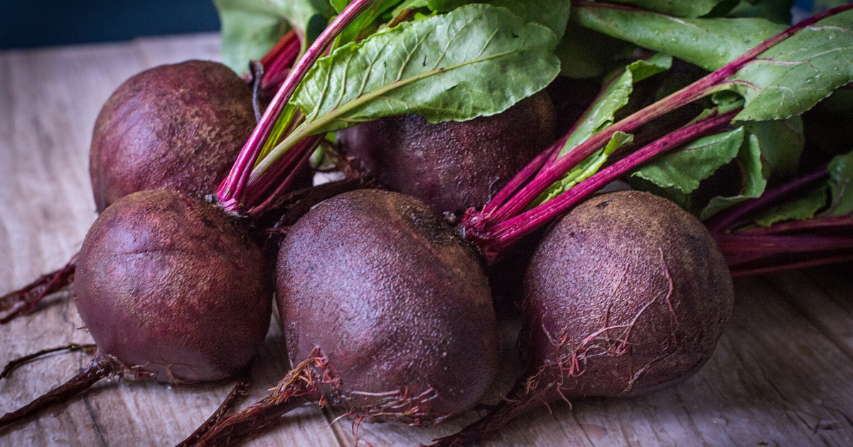 Five pieces of red beets.
