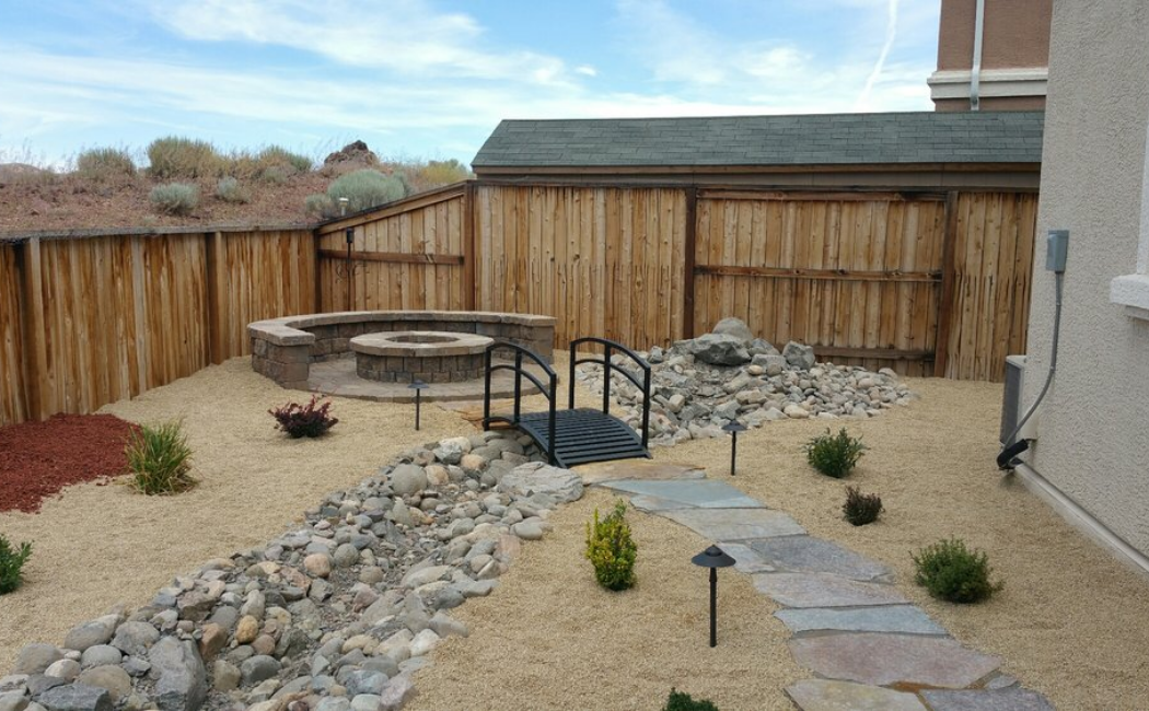 A dry creek bed with contemporary style.