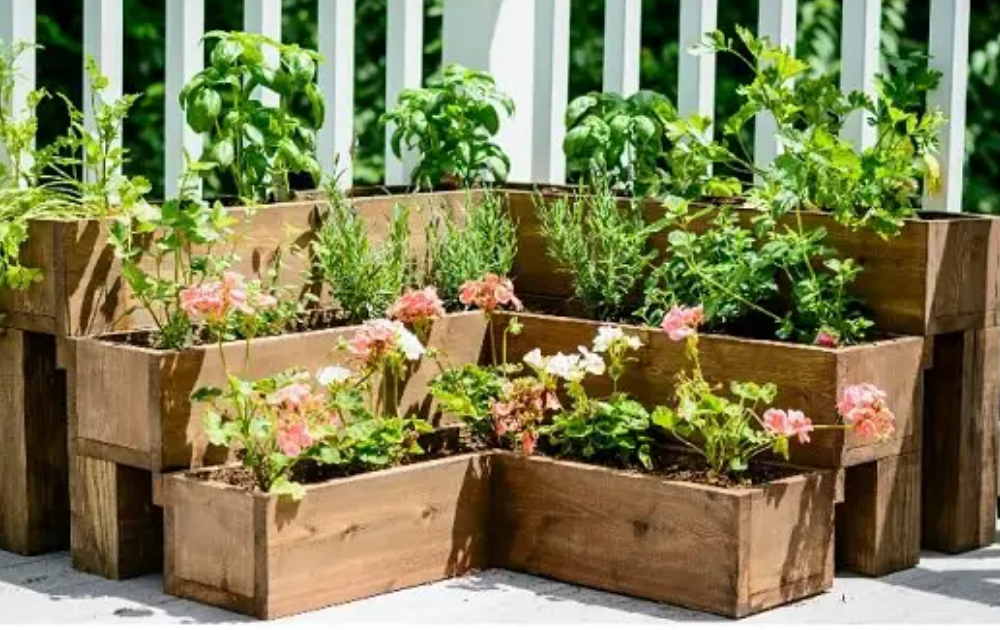 Three-tiered wooden raised bed.