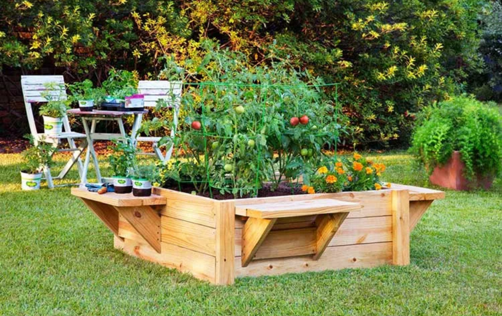 Wooden raised bed with side benches.