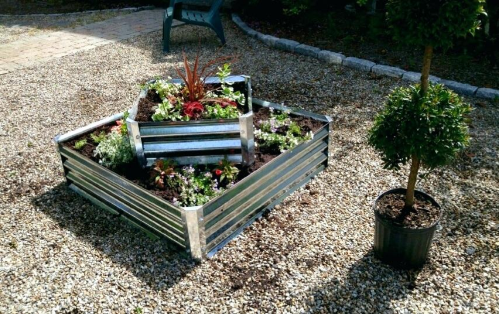 Two-tiered square galvanized steel raised bed.