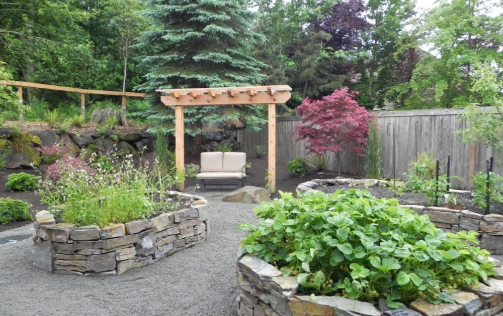 Three sets of oval raised beds with wooden pergola.