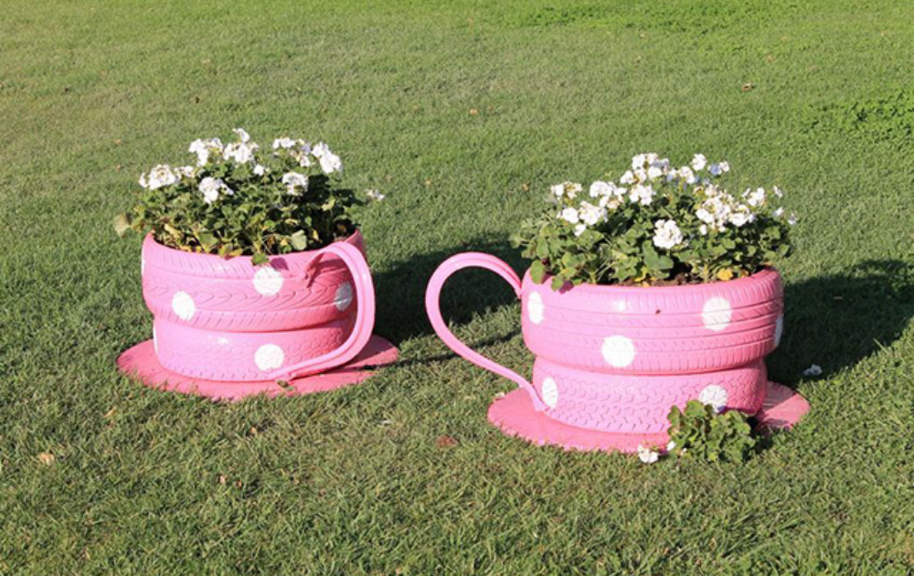 Two pink teacup planters with flowering plants.