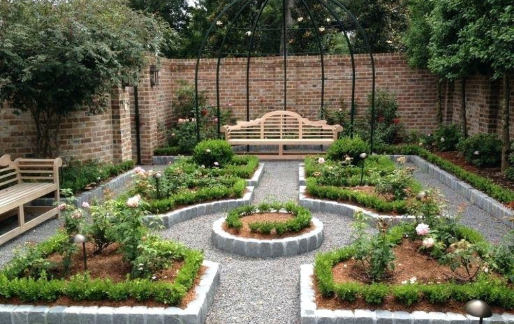 Seven sets of newly planted raised beds in various shapes with pergola structure and two wooden benches beside the garden.