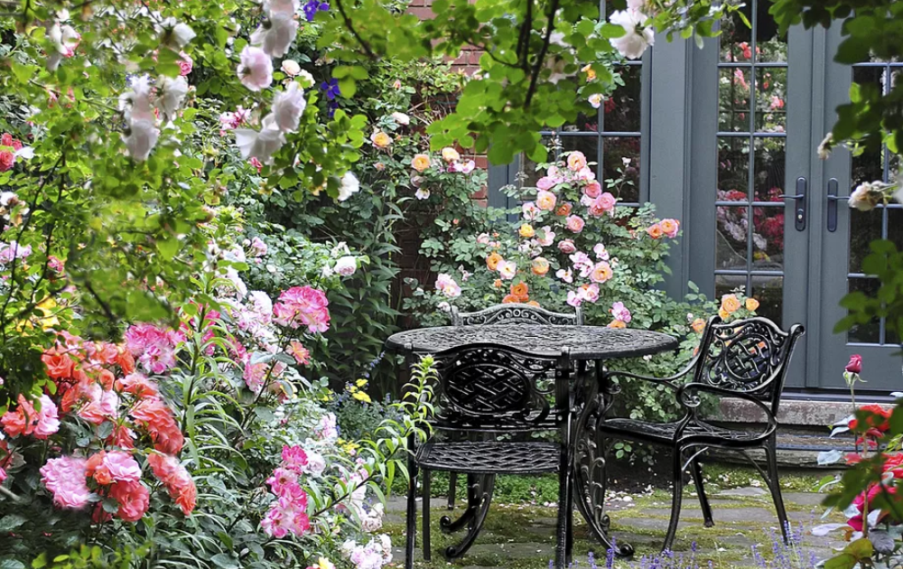 A rose garden among a patio with a black coffee table set at the center.