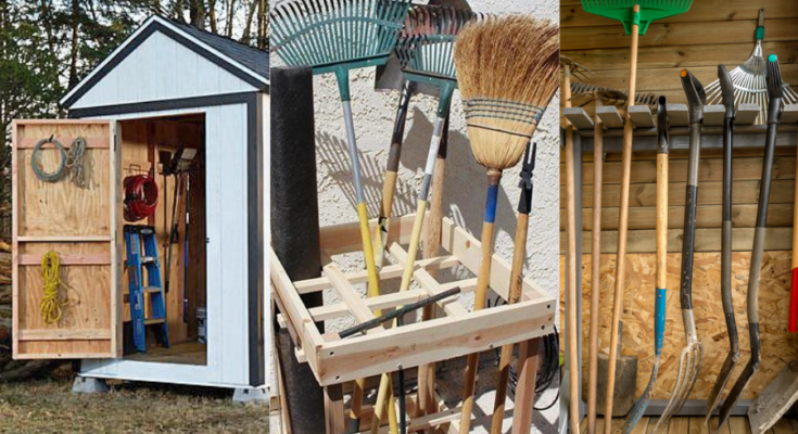 Three easy DIY wooden garden tool storage ideas.