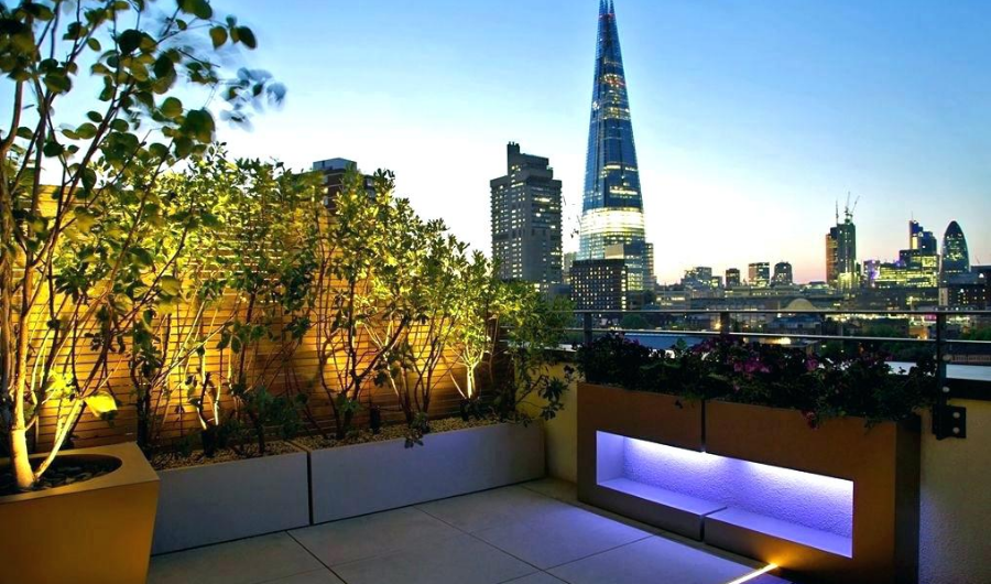 The rooftop display raised beds with installed lightings illuminating the plants and city-wide panoramic view.