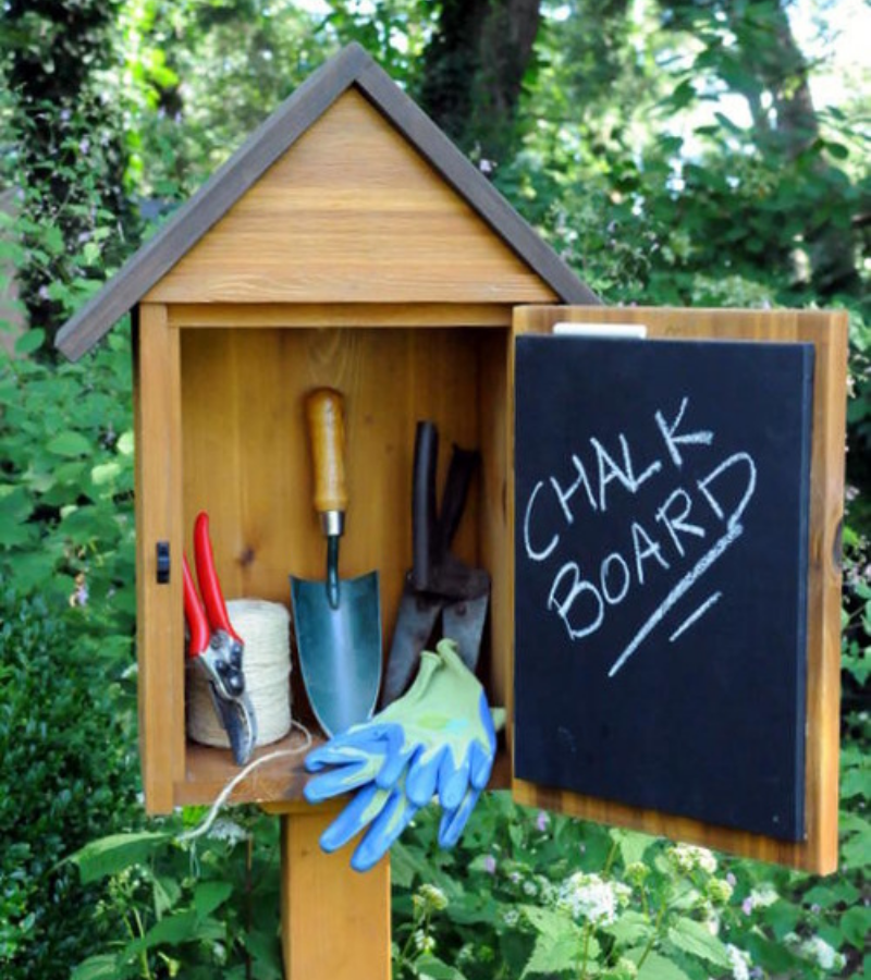 A wooden mailbox with garden tools inside and an open door labelled with chalkboard.