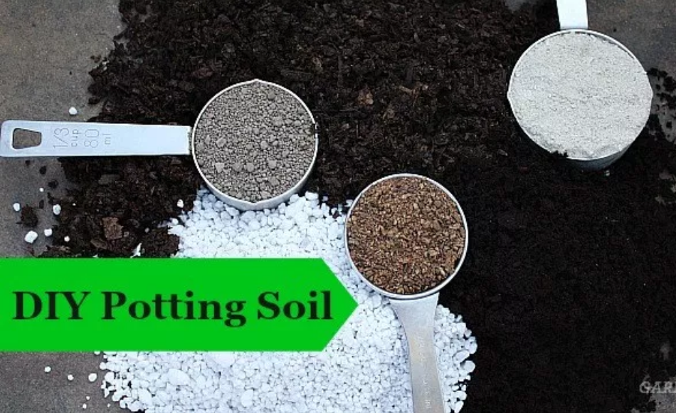 A group of materials like perlite, vermiculite, compost, sand and soil for a DIY potting soil recipe.